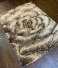Rugs Approx 6x4Ft 120x160CM Carved 3D Designs Top Quality Brown-Beige Rugs Woven